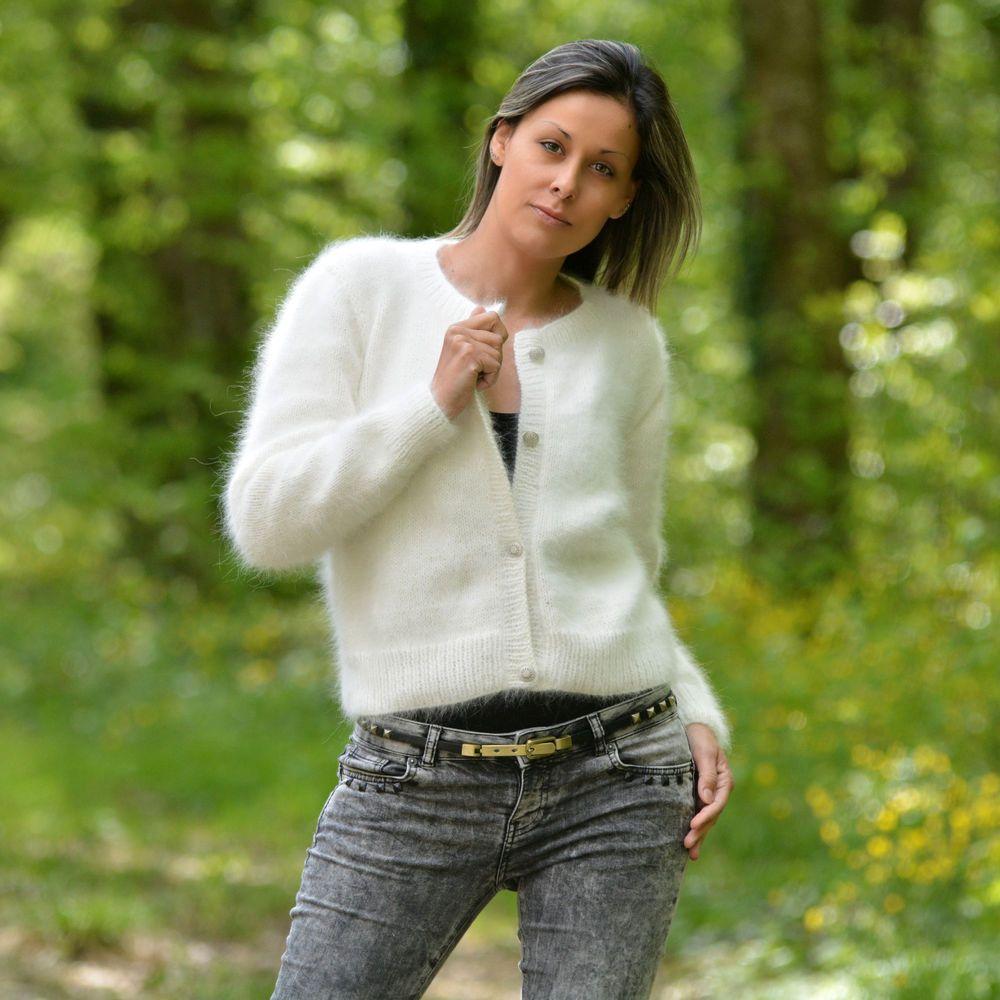 Hand Knit 100% Pure Angora Rabbit Cardigan Fluffy WHITE Sweater by ...