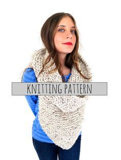 PATTERN for Chunky Soft Knit Poncho Cowl // by TwoOfWandsShop