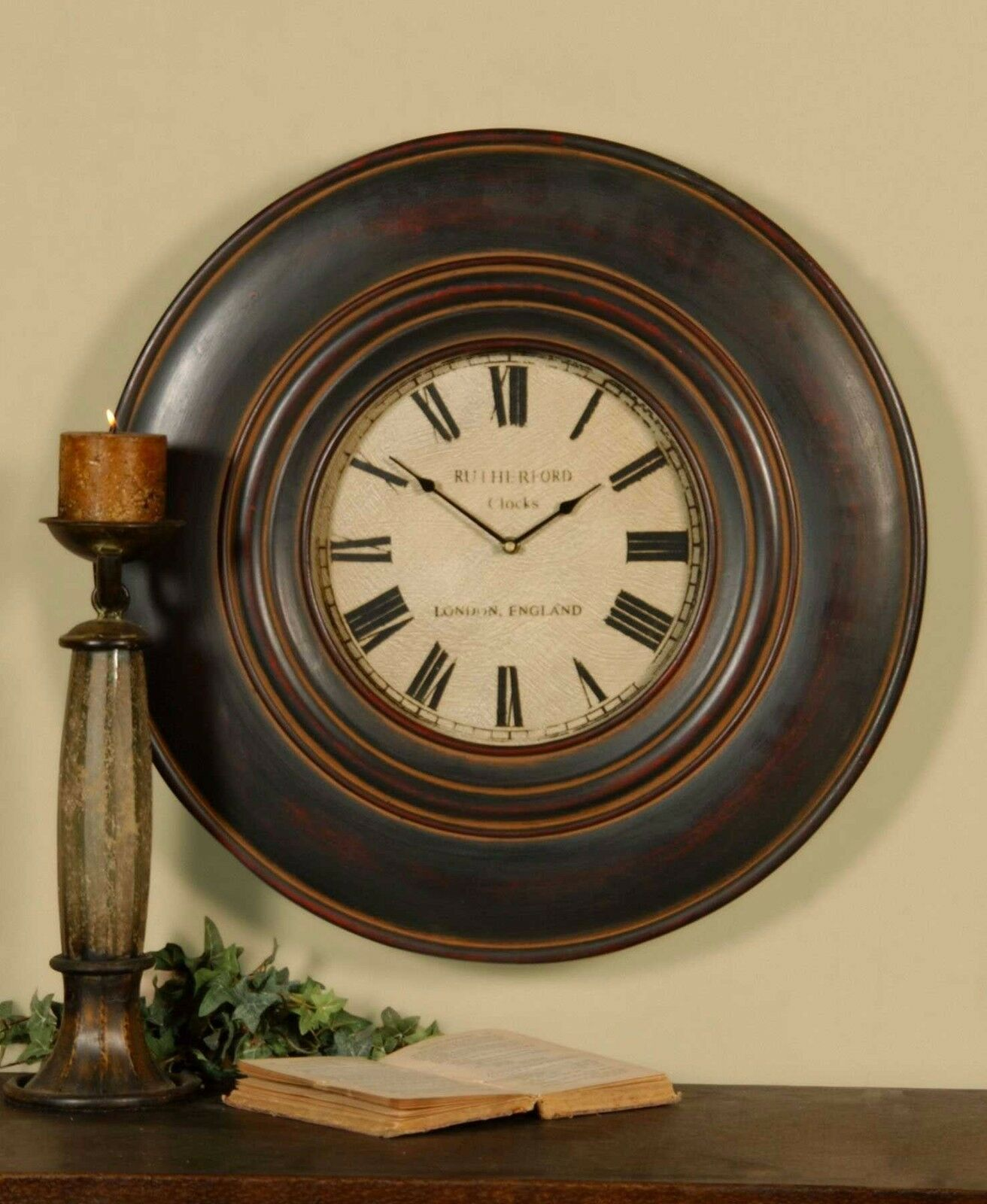 """NEW 24/"""" AGED WOOD FINISH ROUND WALL CLOCK LARGE ROMAN NUMBERS VINTAGE DESIGN"""