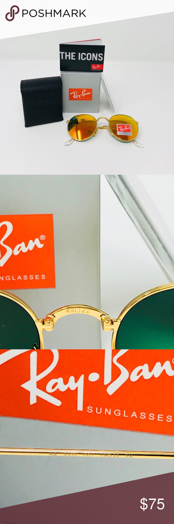 RayBan 49mm RB3532 Gold Folding Round Sunglasses 💯Ray Bans