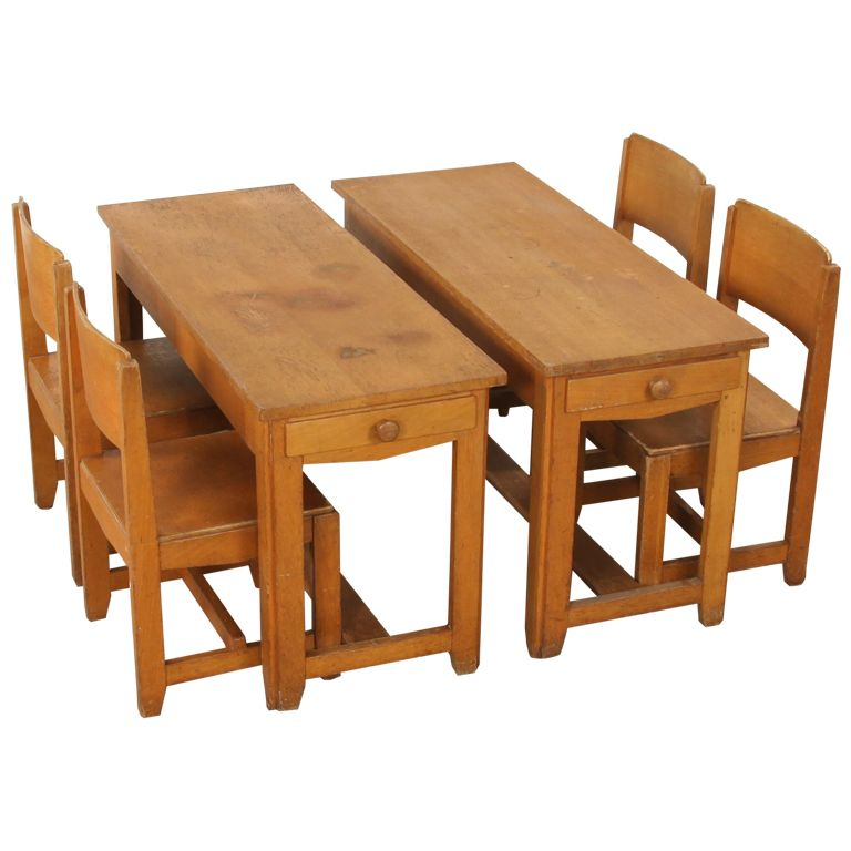 Very Rare PreWar 1930 Childs Desk and chairs by Dox Lier