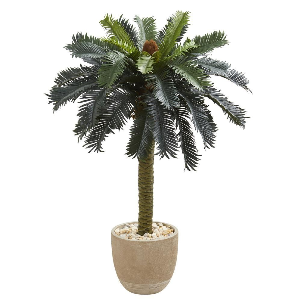 Indoor ft sago palm artificial tree in sandstone planter