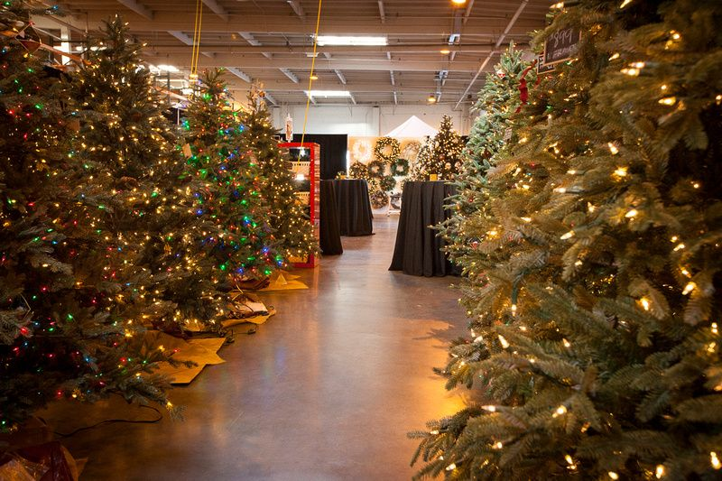 Christmas trees on display at the Balsam Hill Showroom ...