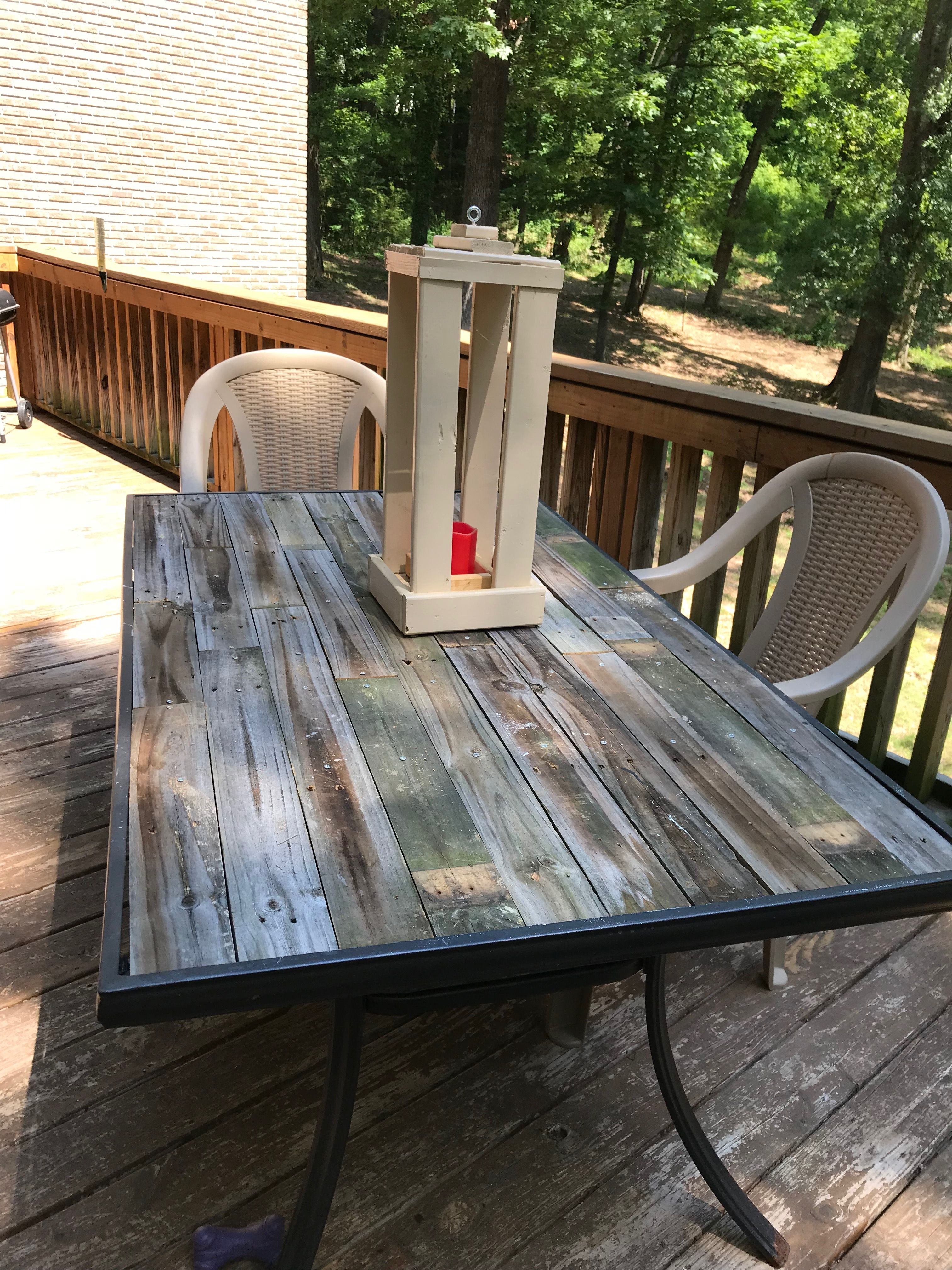 Old Patio Table Had The Glass Top Broken Out Replaced It With Old Picket Fence Patio Table Top Patio Table Redo Outdoor Table Tops
