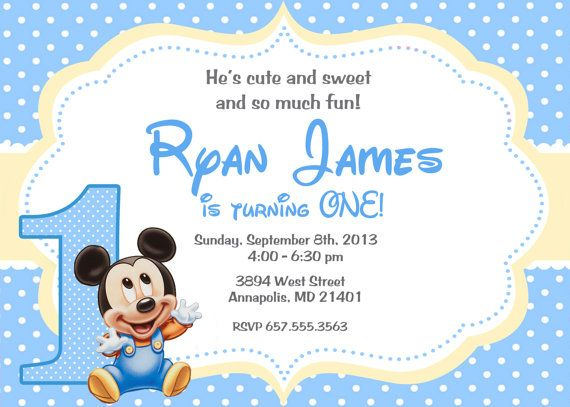 Mickey Mouse Baby First Birthday Party by PrettyPaperPixels – Baby Mickey Invitations Birthday