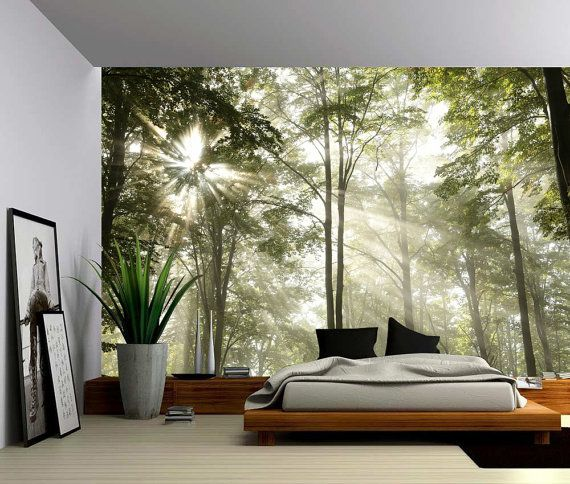 Forest Tree Rays Of Light Large Wall Mural Self