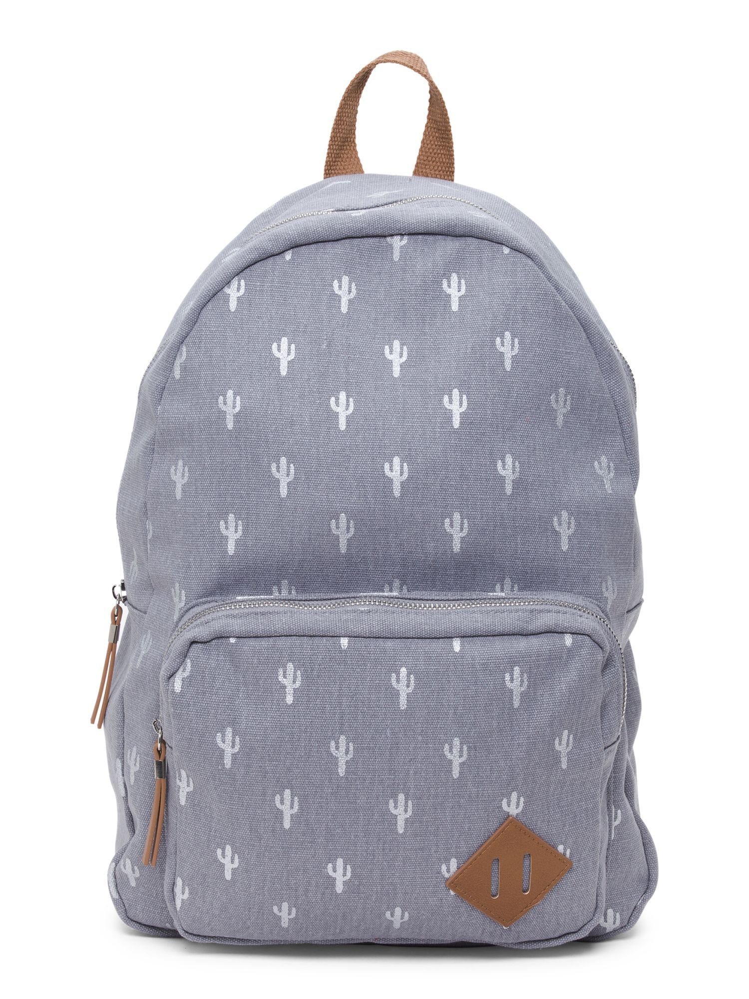 b19fef3543e6 Cactus Foil Print Canvas Backpack