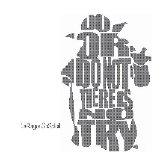 Modern cross stitch pattern Yoda Star Wars quote silhouette Do or ...