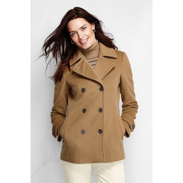 Lands' End Tall Luxe Wool Pea Coat ($125) ❤ liked on Polyvore featuring outerwear, coats, petite, brown peacoat, double breasted wool coat, wool pea coat, double breasted wool peacoat and petite pea coat