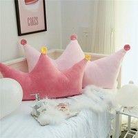Photo of Fashion Girl's Room Decor Pink Crown Stuffed Cushion Super Large Cushion Bedding Decor