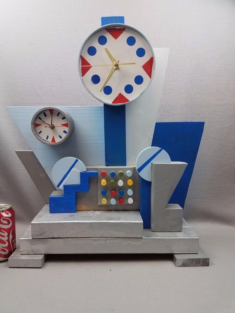 OOAK Retro Atomic Mid Century Mod Nelson Style Cubist Dual Time Table Clock #Handmade