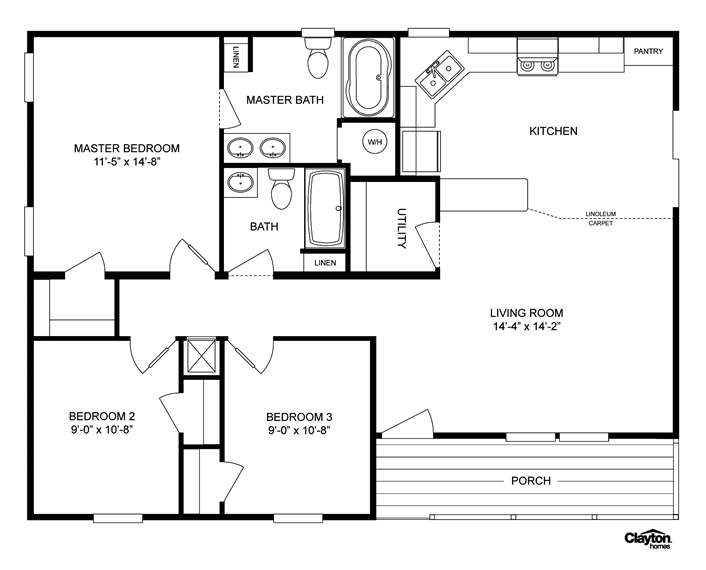 floor plan for the lakeview -lvw32403aClayton Homes | Home Floor ...