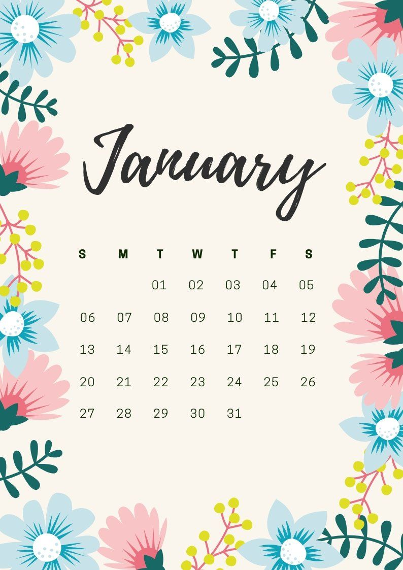 January 2019 Calendar Waterproof January 2019 Waterproof PDF Printable Calendar | 2019 Calendars