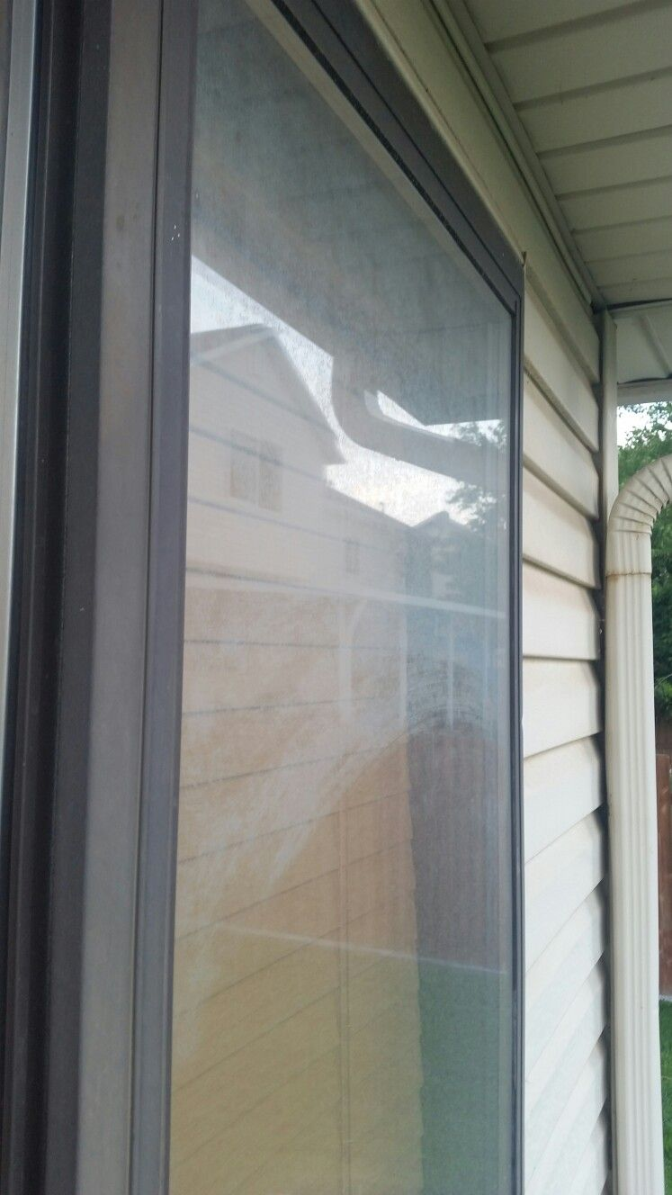 Hard water buildup on church windows due to secondary water system ...