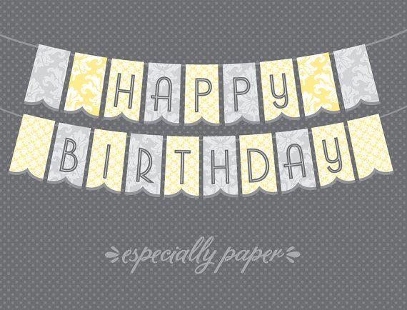 yellow happy birthday banner