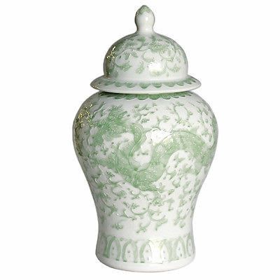 Beautiful Green and White Porcelain Medallion Shaped Temple Jar Dragon Lotus 21""