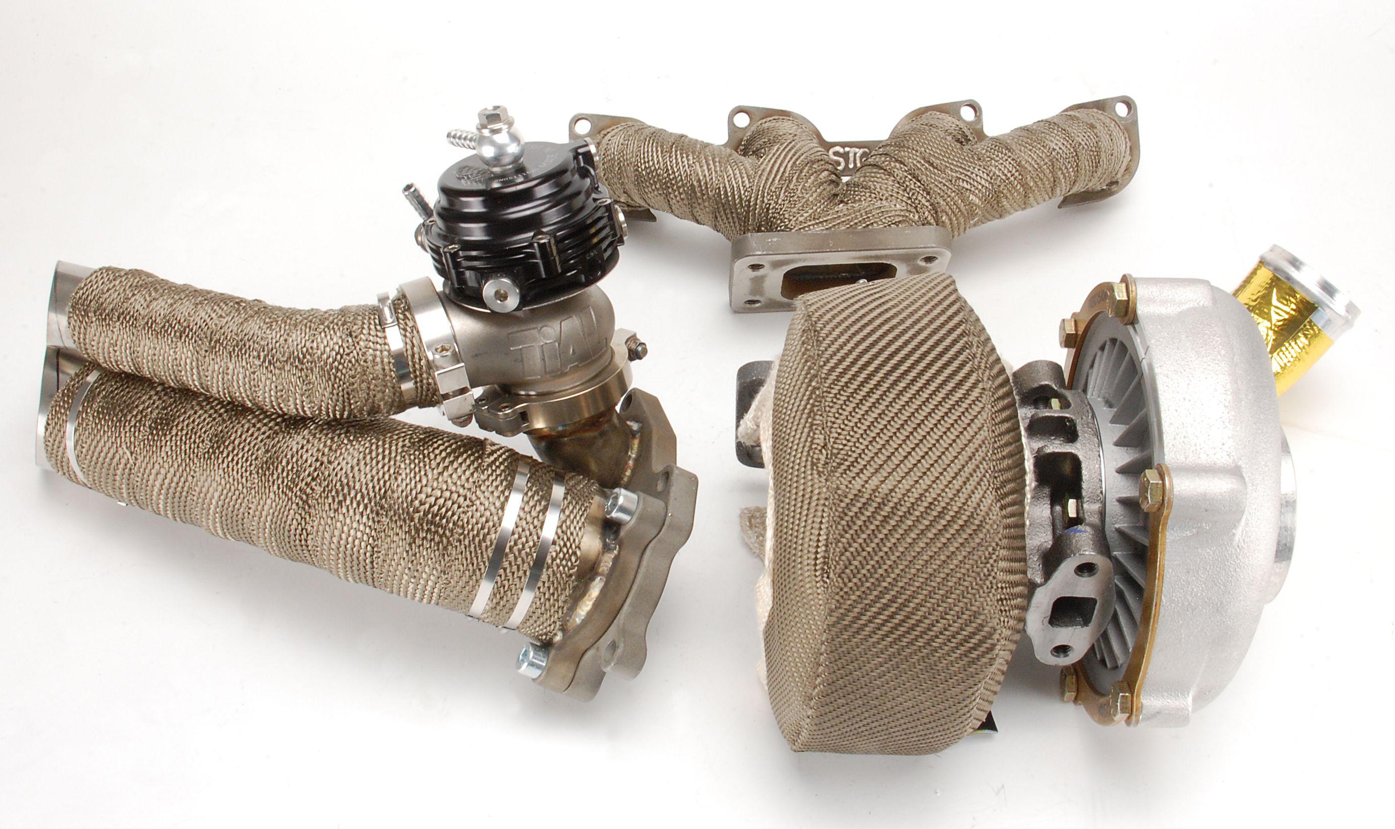Suzuki Hayabusa Turbo Kit wrapped with DEI Titanium Wrap and Turbo