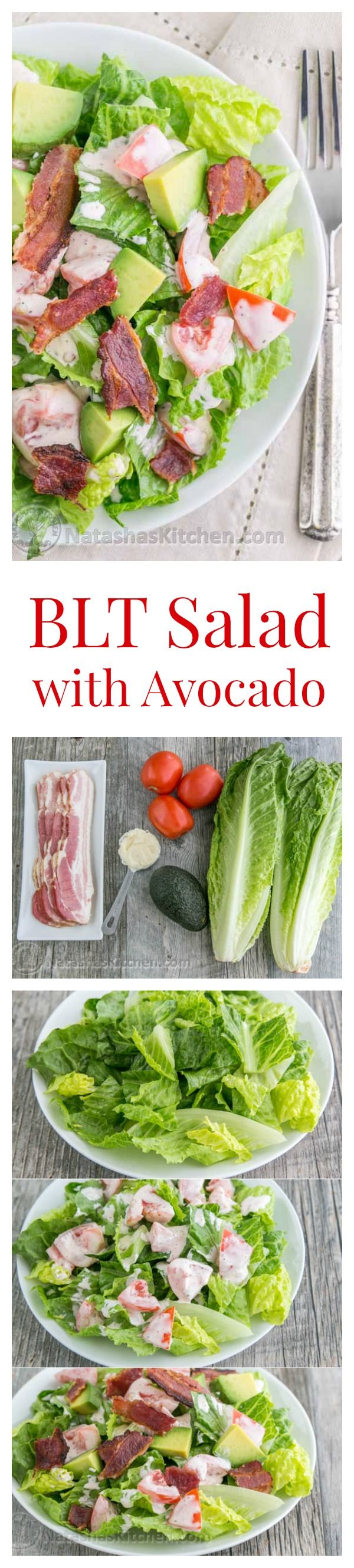 BLT Salad with Avocado from the @skinnytaste cookbook - Everything we love about a BLT in Salad form!   natashaskitchen.com