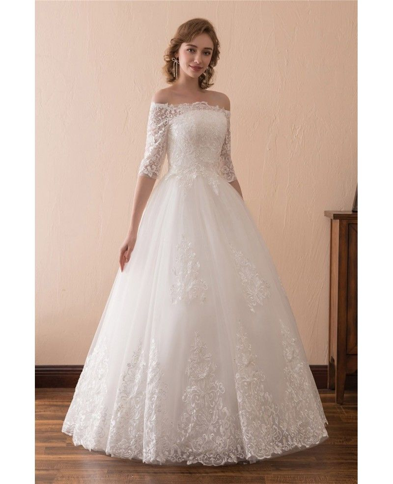 Off the shoulder lace ballroom wedding dress with sleeves