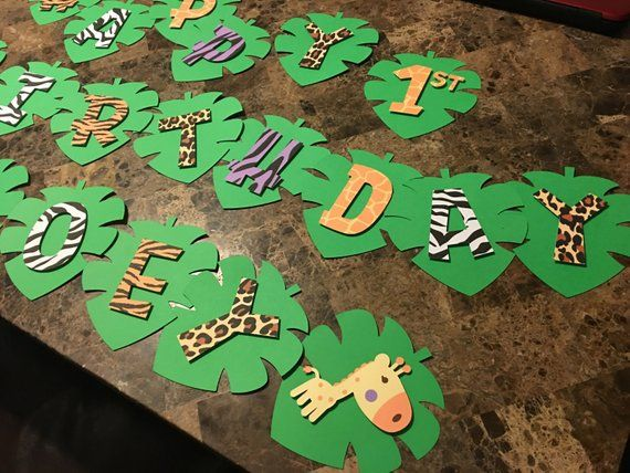 Jungle Themed Banner Birthday Party Decorations #safaribirthdayparty