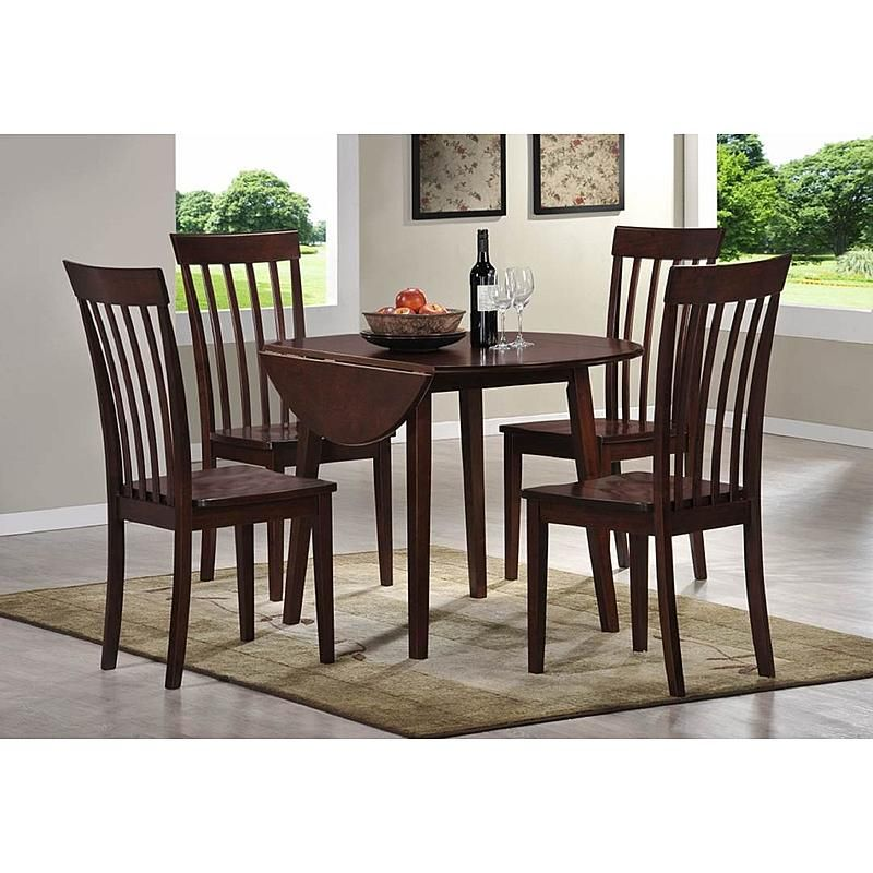 Landon 5 Pc Dining Set With Drop Leaf Table Wooden Dining Set