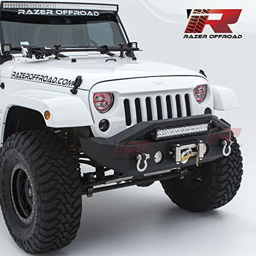 """Razer Auto 07-17 Jeep Wrangler JK Black Textured Rock Crawler Stubby Front Bumper with OE Fog Light Hole, 2x D-Ring and Built-In 22"""" LED Light bar mount & Winch Mount Plate (Black)"""