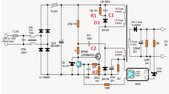 SMPS circuit components need some explaination