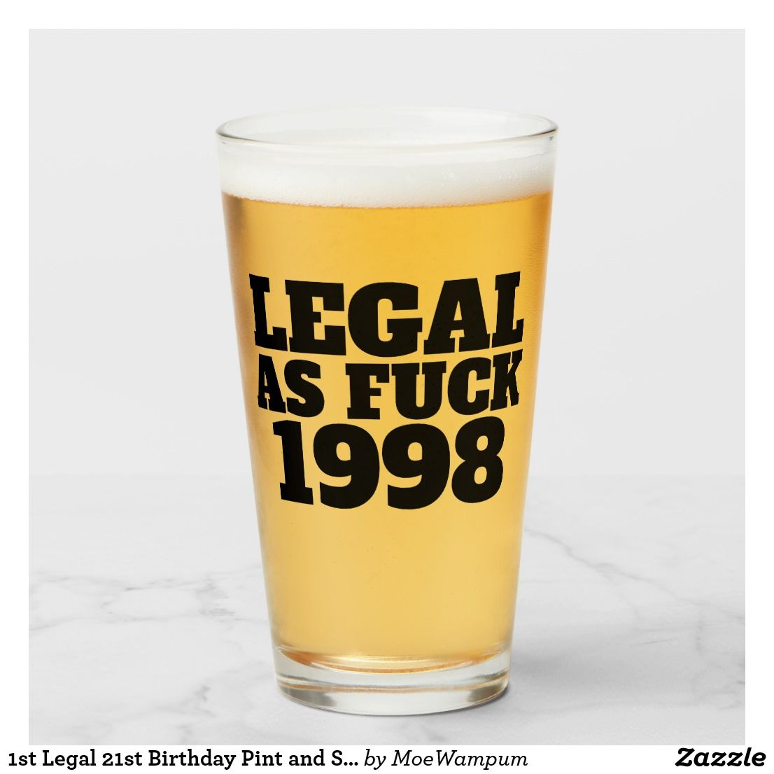 1st legal 21st birthday pint and shot glass set tumbler