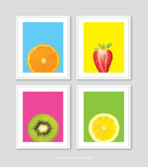 Charmant Fruit Art Prints   Orange Strawberry Kiwi Lemon Prints ...