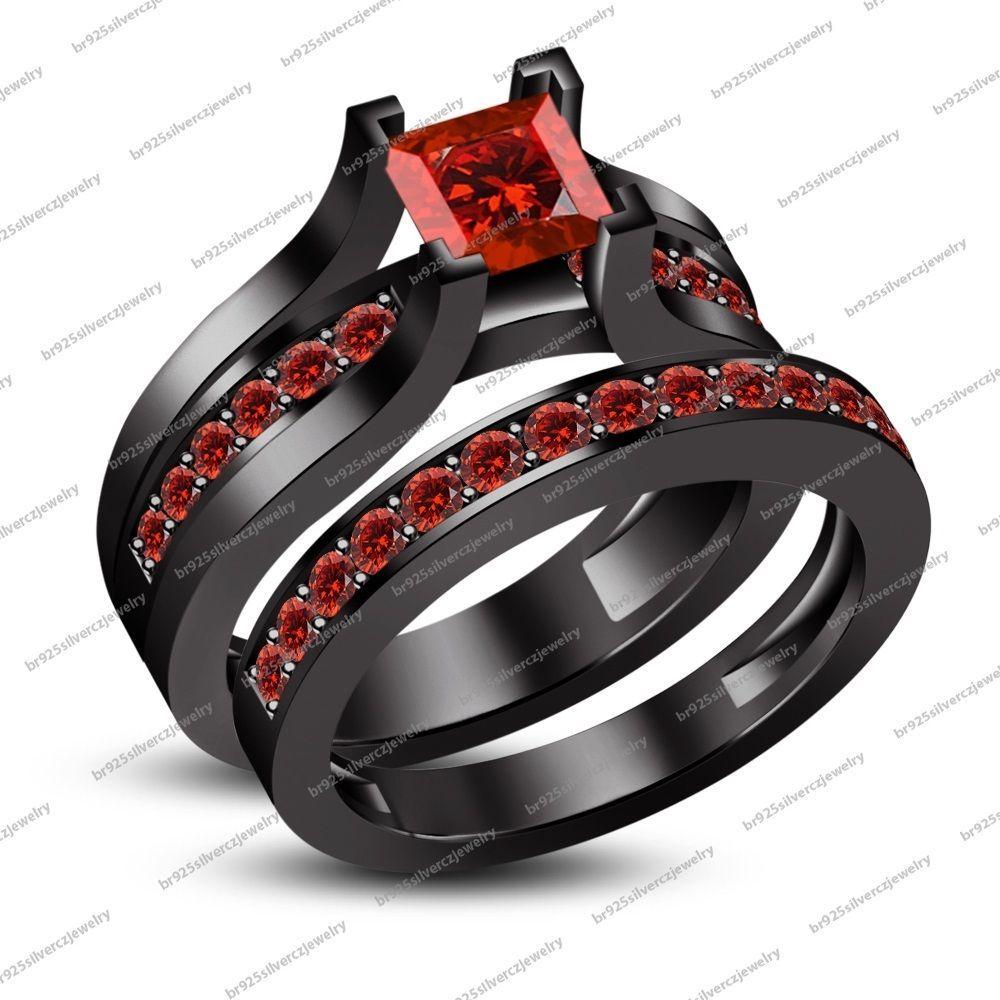 carat red garnet k black gold filled wedding pcs bridal