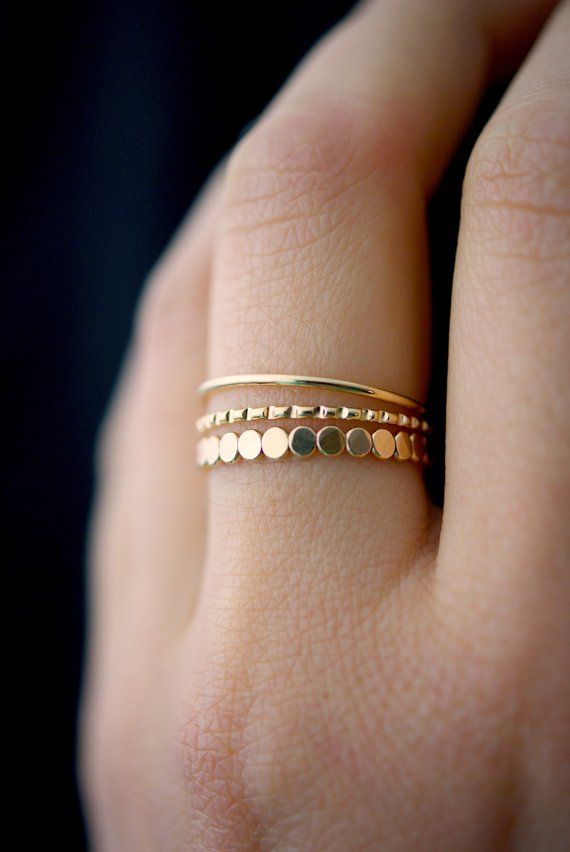 Photo of NEW Bead Mixed Texture Ring Set in Gold Fill, gold stack ring, ring set, gold fill set, delicate gol