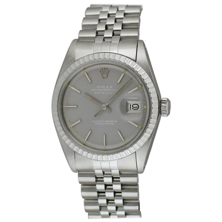 Rolex Datejust Ref 1603 Stainless Steel Slate Dial White Writing, Circa 1977