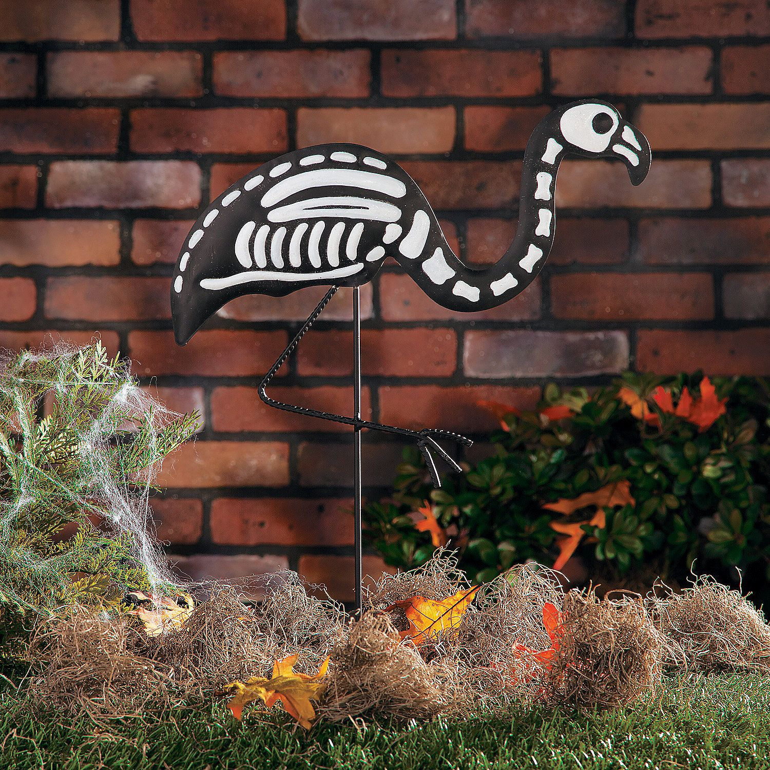 Skeleton Flamingo Yard Stake - OrientalTrading Halloween - Halloween Graveyard Decorations
