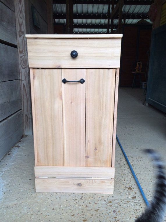 Tilt Out Trash/ Farmhouse Furniture Decor/ Wood Trash Bin/dog Food Storage/  Wood Laundry Bin/ Recycle Bin/ Baby Room Storage/