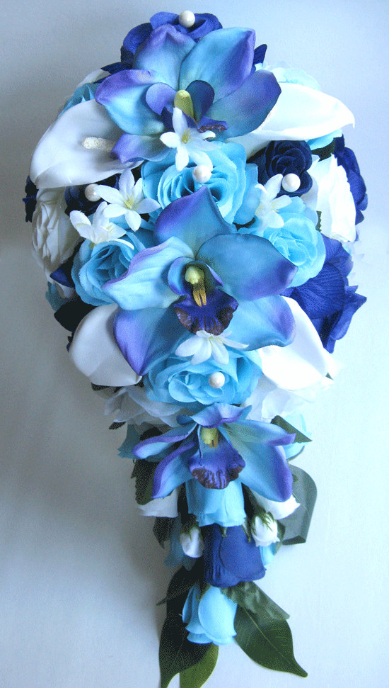 Wedding flowers silk bridal bouquet cascade aqua navy blue orchid wedding flowers silk bridal bouquet cascade aqua navy blue orchid cream calla lily artificial arrangement bouquets rosesanddreams by rosesanddreams on mightylinksfo