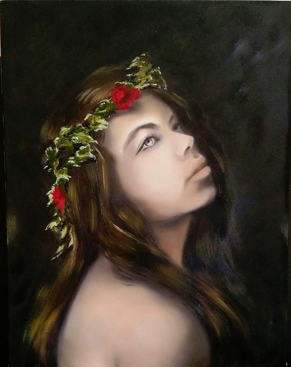 Flowers In My Hair Thorns Heart Oil On Linen Painting Portrait Of Woman Female Figure