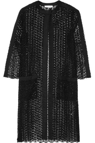 OSCAR DE LA RENTA Grosgrain-Trimmed Embellished Open-Knit Silk-Blend Jacket. #oscardelarenta #cloth #jackets