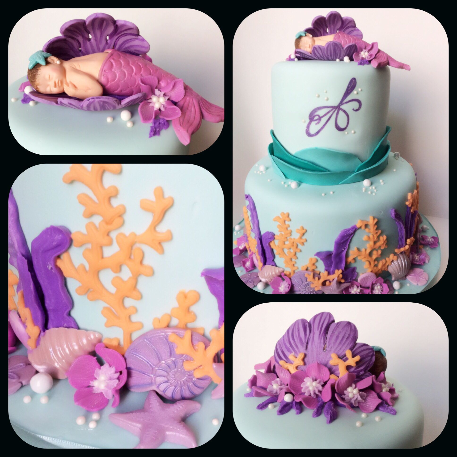Mermaid Baby Shower Cake With Images Mermaid Baby Shower