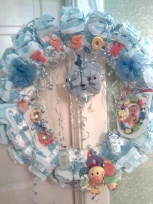 Diaper Wreath Instructions Shower Decorationsgifts Pinterest