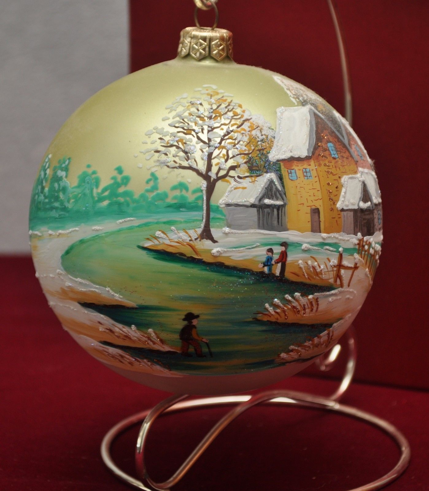 Christmas ornament holders - Oversized Handpainted 5 Glass Ball Ornament W Ornament Stand Satin