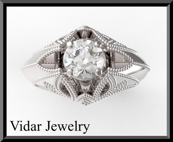 Photo of Moissanite Engagement Ring,Filigree Engagement Ring,Vintage Engagement Ring,Art Deco Engagement Ring,Unique Engagement Ring,Royalty Ring