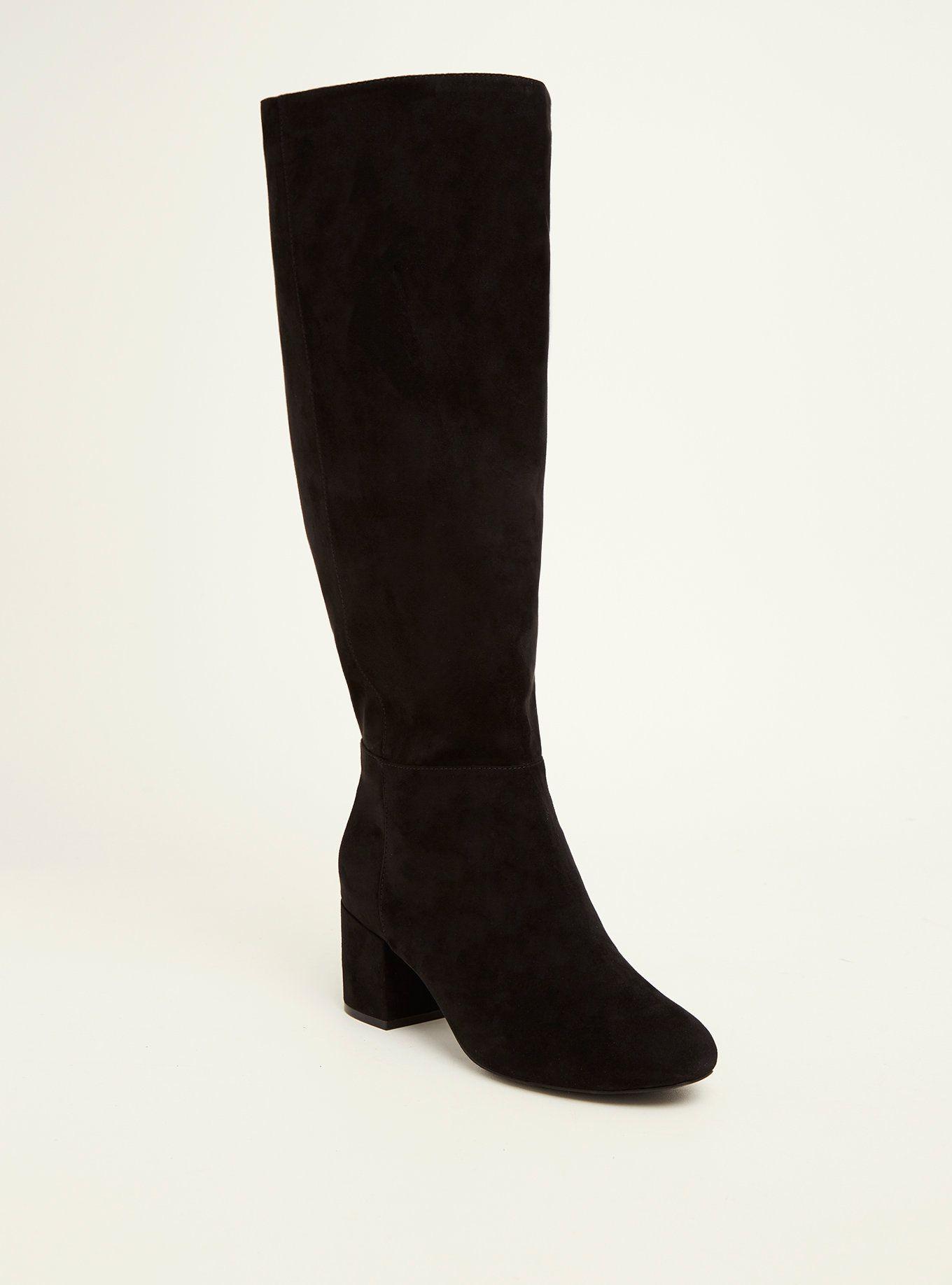 Faux Suede Block Heel Knee-High Boots