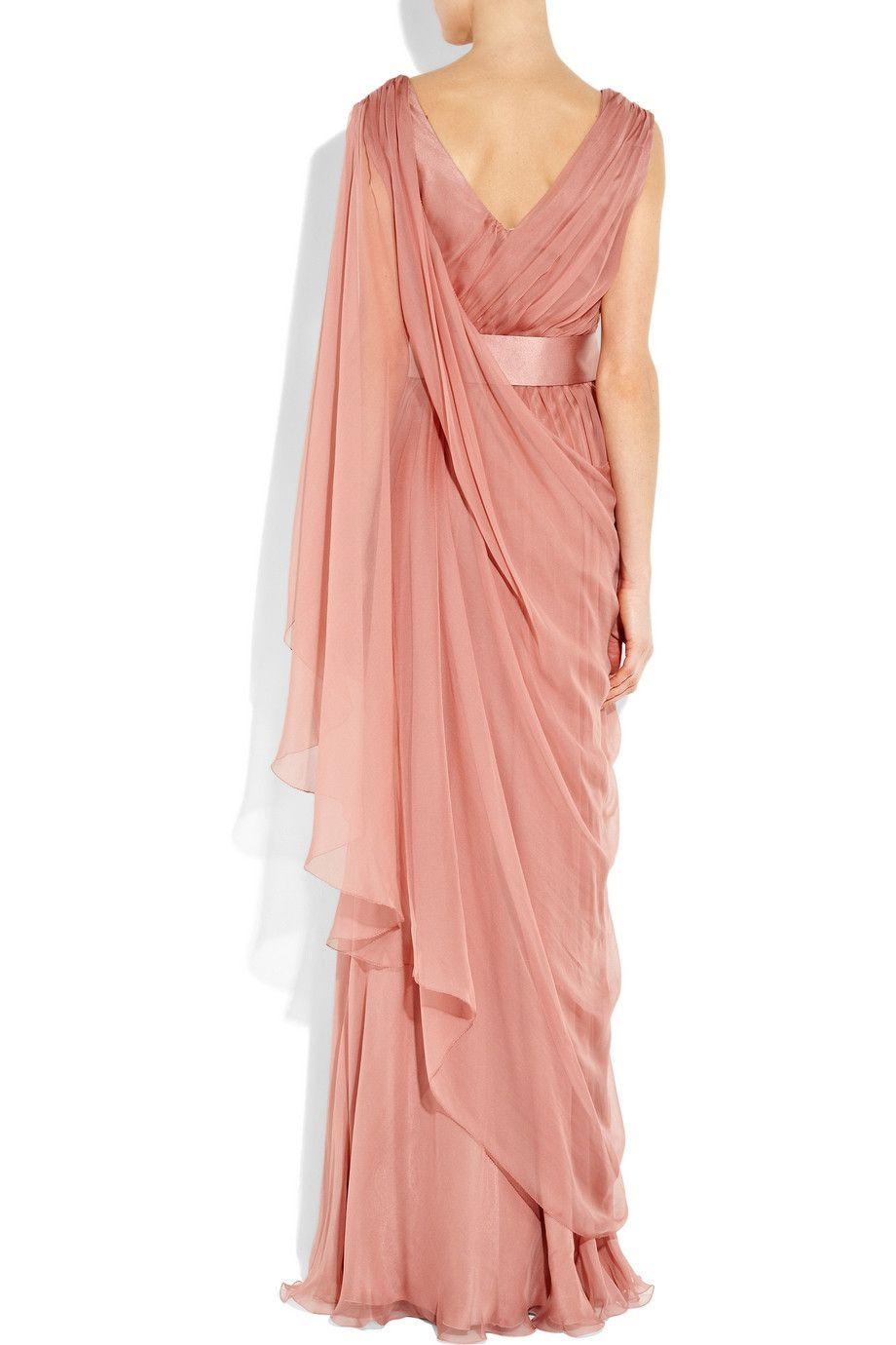Alberta ferretti Draped Silk-chiffon Gown in Pink (rose) | Lyst ...
