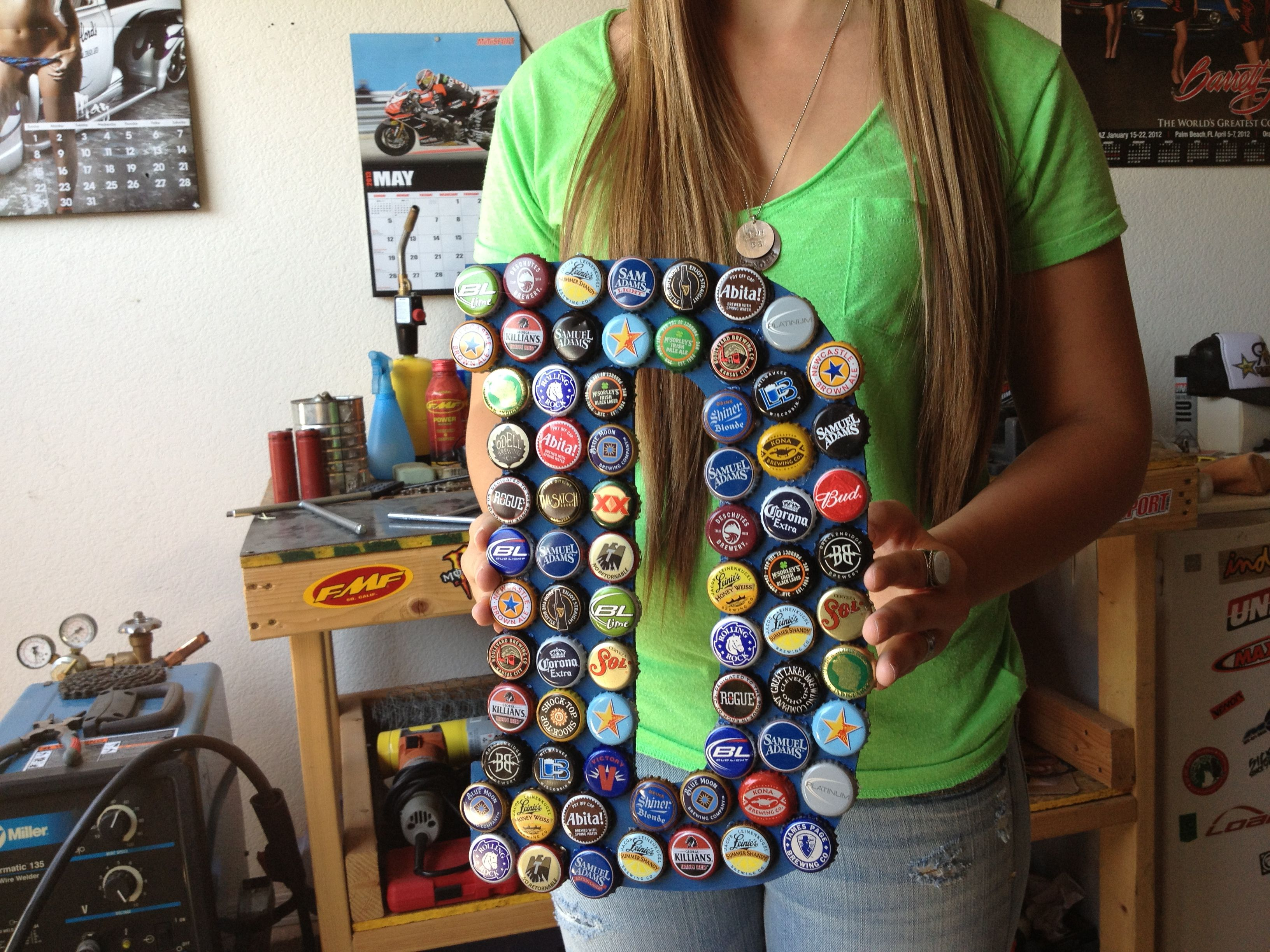 Beer bottle cap letter make things not babies for What can i make with beer bottle caps