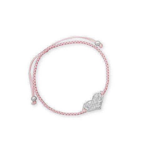 Adjustable Cord CZ Heart Sterling Silver Bracelet – Tribal Native L.A.