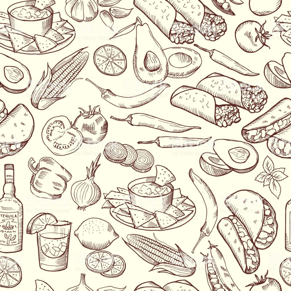 Seamless Pattern With Traditional Mexican Food Vector Pictures Set Traditional Mexican Food Mexican Food Recipes Food Illustration Art