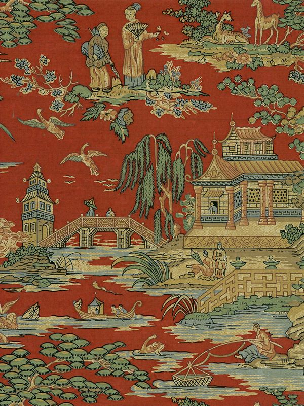 """red"" Chinoiserie wallpaper, Red wallpaper, Asian home decor"
