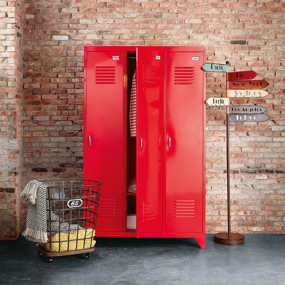 Guardaroba 3 Ante.Guardaroba Industriale A 3 Ante In Metallo Rosso In 2019