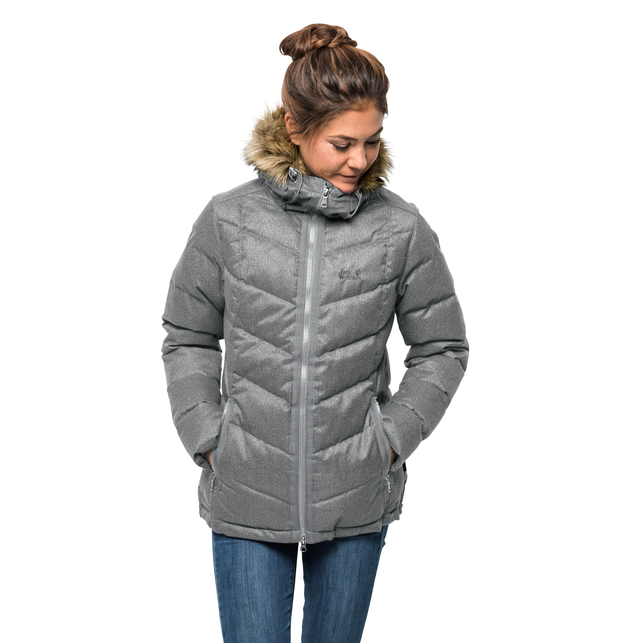 JACK WOLFSKIN Daunenjacke 'Baffin Bay' in grau | ABOUT YOU