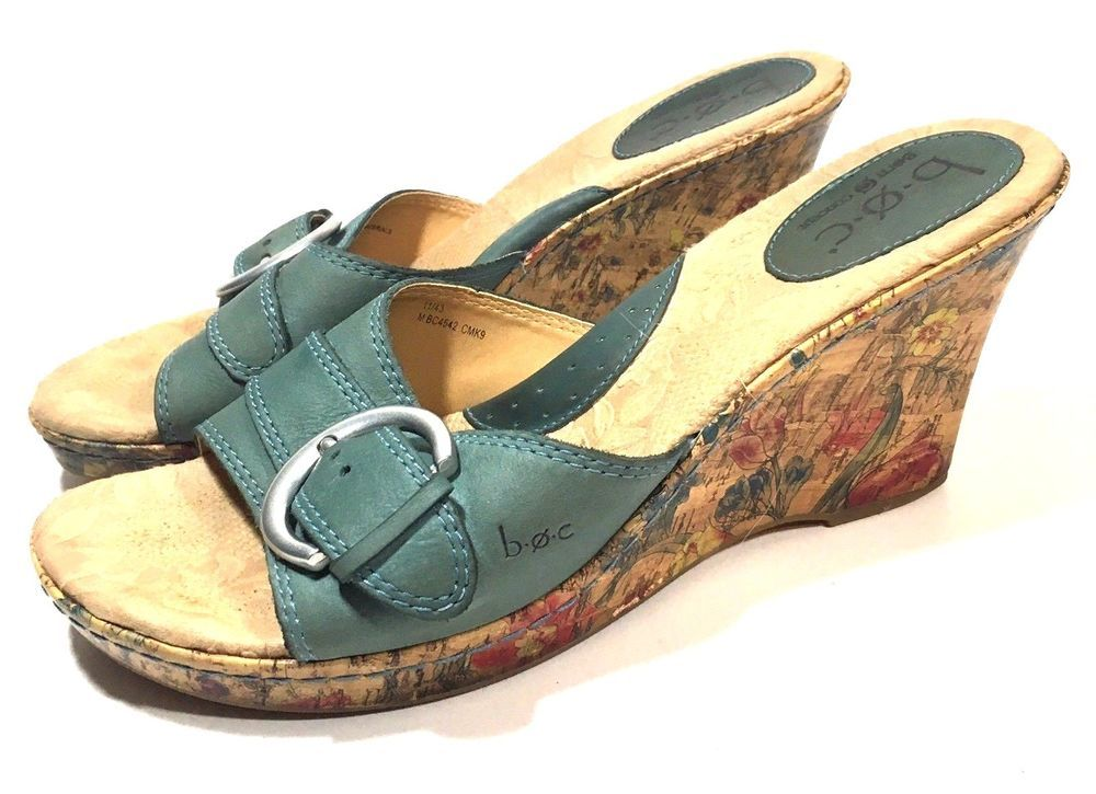 722e2be99072 BOC Born Concepts Blue Leather Cork Floral Wedge Slide Sandal Buckle Sz 11  43  Brn  PlatformsWedges  Casual